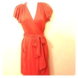 BCBGeneration Orange Wrap Tie Short Sleeve Dress